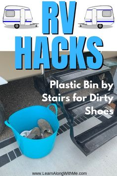 RV hacks and ideas for RV storage and organization. hacks camper RV Hacks - of Plastic Bin by stairs for dirty shoes Camper Hacks, Rv Hacks, Organizing Hacks, Camper Trailers, Caravan Hacks, Hacks Diy, Trailer Tent, Hacks Videos, Life Hacks