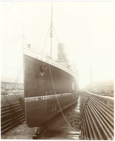 Cunard Line LUSITANIA in dry dock before trials