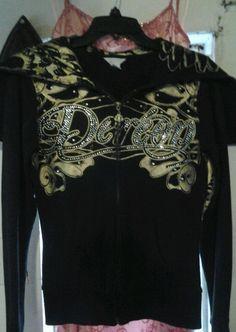DEREON JEANS CRYSTAL SEQUIN BLACK HOODIE angle wing  TOP JACKET WOMEN'S SZ small #Dereon #Hoodie