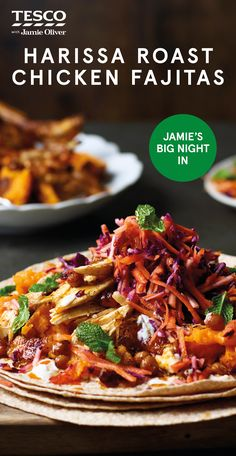"""Harissa roast chicken fajitas - Jamie Oliver says, """"Harissa is a really delicious, fairly mild North African chilli paste that does amazing things to chicken. It's so much fun to serve this fajita-style, and so easy too! You're going to love it. Vegetarian Lunch, Vegetarian Recipes, Cooking Recipes, Harissa Chicken, Chicken Fajitas, Roast Chicken, Pub Food, Food Food, Tesco Real Food"""