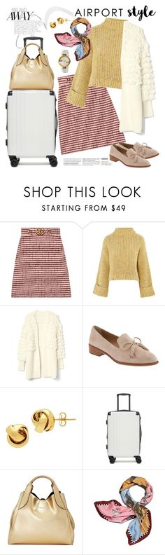 """Wanderlust  Wonderful: Airport Style"" by ellie366 ❤ liked on Polyvore featuring Gucci, Topshop, Banana Republic, Lord & Taylor, CalPak, Lanvin, Tory Burch, loafers, cardigans and getaway"