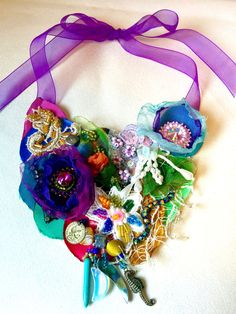 Silk, lace, beads crystals adorn this colourful neckpiece. Can be worn low or high as in photo. Crystal Beads, Crystals, Stills For Sale, Gypsy Rose, Sell Items, Hair Dos, Silk, Lace, Color