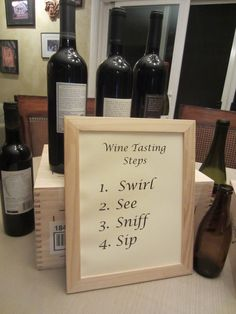 Wine Tasting Rules: I would use distressed paper, frame and a European font!