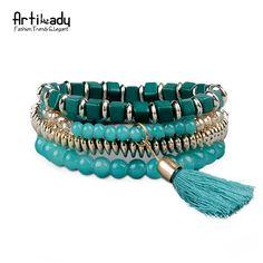 Aliexpress.com: Compre Artilady liga de zinco contas borla pulseira pulseiras moda natural ágata beads multilayer pulseira para as mulheres do partido de confiança beaded bracelets wholesale fornecedores em ArtiLady Jewelry (Stylish Designer Brand)