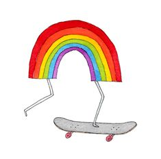 Nothing brightens a day like a rainbow. Now, put that rainbow on a skateboard and you have something truly special. Plus if you order in June, as a bonus you'll get a free Rainbow Skateboard Tattly! Pintura Hippie, Skateboard Tattoo, Rainbow Drawing, Rainbow Art, Indie Drawings, Hippie Painting, Temp Tattoo, Merian, Temporary Tattoo Designs