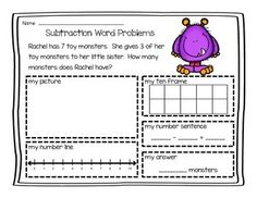 Subtraction Word Problems (0-10) Use to help students solve addition word problems (includes a spot for students to draw a picture, a number line, a ten frame, and write a number sentence).