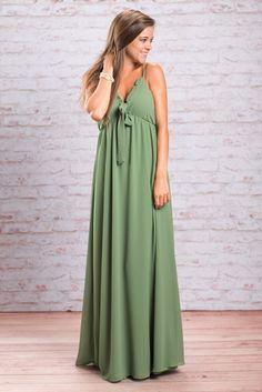 """""""Cute Maxi Dress - Ruffle And Bow Detailing, Olive"""""""