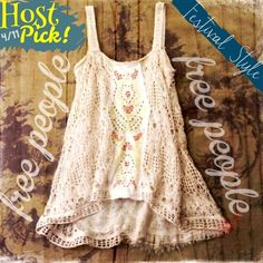 """HPSALEFree People Maya Crochet Tank Free People Beige Maya Embroidered Crochet Tank A pretty tank floats into vintage territory with a pieced-together look created by hand-hewn details like embroidered panels, sequins, and tea-stained crochet work. A gauzy underlayer adds to the bespoke look. 25"""" length (size medium). Lined. Cotton/acrylic; dry clean. T.b.d. Color: tea combo.   Inches from shoulder to hem:=28 inches/ Inches across bust=16.5 Free People Tops Tank Tops"""
