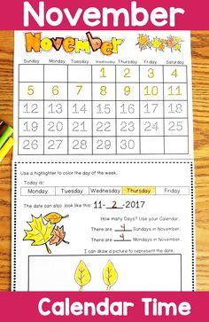 November Calendar activities. November Calendar, Calendar Time, Kids Calendar, September, Teacher Calendar, School Calendar, Calendar Activities, Hands On Activities, Kindergarten Activities