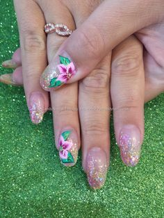 Pink and yellow glitter with one stroke flower nail art Taken PM Uploaded PM Technician:Elaine Moore Get Nails, Fancy Nails, Hair And Nails, Beautiful Nail Art, Gorgeous Nails, Pretty Nails, Mood Nail Polish, One Stroke Nails, Flower Nail Art