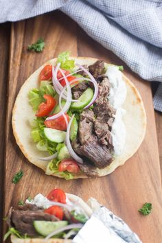 Deliciously flavorful and tender Beef Gyros, made in the slow cooker or instant pot pressure cooker.