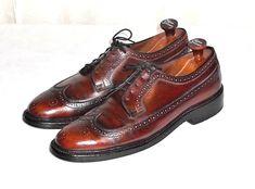 Nettleton Barclay Vtg Brown Leather Brogue Wing Tip V Cleat Oxford Men's 10 B #Nettleton #BrogueWingTip