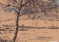 Every day I make a drawing of 'het Zwet' the water behind my house. A whole year, one drawing every day.