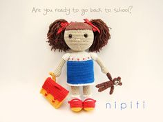 Crochet Doll with backpack and teddy bear - My school friend - Amigurumi - Back to school