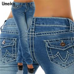 Women's Fashion 2019 Spring and Autumn Plus Size Casual Jeans Low Waist Jeans Stretch Straight Cut Hipster Jeans Hip Thick Seams Long Pants Slim Fit Denim Jeans Denim, Sexy Jeans, Casual Jeans, Jeans Style, Skinny Jeans, Jeans Pants, Blue Jeans, Trousers, Blue Denim