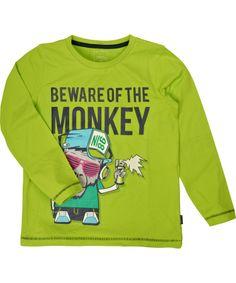 Name It flashy limegreen t-shirt with hiphop monkey. name-it.en.emilea.be
