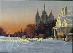 This twilight winter view of the temple is the artist's first painting of one of his favorite sites, the corner of State Street and South Temple. Utah Temples, Lds Temples, Watercolor Sunset, Church History, State Street, Lds Church, Christmas Paintings, Salt Lake City, Sunsets