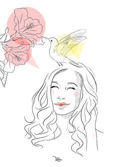 Lily… #illustration #bird #smile #hibiscus