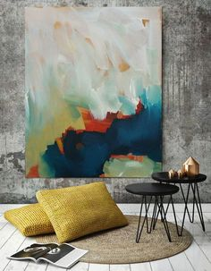 Large Contemporary Original Painting, Abstract Art, Acrylic Painting on Canvas. Custom Extra Large Painting – Modern Wall Art Blue, Yellow - All For Herbs And Plants Large Painting, Acrylic Painting Canvas, Painting Abstract, Diy Painting, Large Canvas Art, Abstract Portrait, Portrait Paintings, Acrylic Art, Wall Canvas