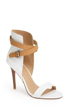 White and tan ankle strap sandals