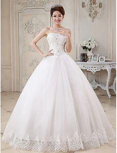 Robe de Soirée Coeur Longueur Sol Tulle Robe de mariée avec Billes Appliques par QQC Bridal