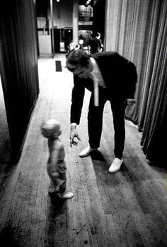 Elvis Backstage with a Young Fan. - 1956