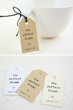 "Personalized kraft wedding tags with saying ""The Perfect Blend."" Shop wedding tags and favor tags with I Do Tags on Etsy. Get this set of 25 for $11.25"