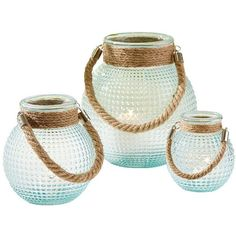 Two's Company Hobnail Lanterns - Set of 3 ($73) ❤ liked on Polyvore featuring home, home decor, candles & candleholders, blue, blue home decor and two's company