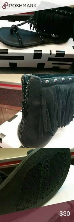 Black Suede Studded Fringed Gladiator Sandals Brand New, Black Suede, Stud Trim, Fringe on front and sides and zipper back closure.  Size 8.5. Brand Not Rated.  So cool! Not Rated Shoes Sandals