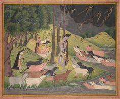 Krishna Summoning the Cows, c. 1780-1790 India, Pahari Hills, Bilaspur school, 18th century | Cleveland Museum of Art