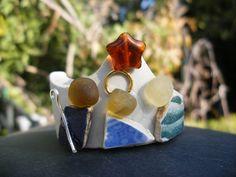 Nativity set--sea glass/pottery