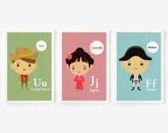 Children Decor Good Manners Flash Cards Kids Wall Art set of