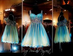 114EP036120295 BLUE/PINK/YELLOW HOMECOMING DRESS