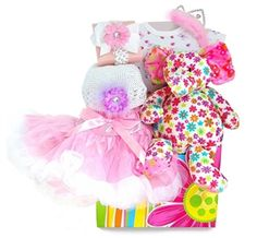 http://www.gotobaby.com/ – Gift your new little princess with the adorable tutu baby gift basket from Go To Baby having baby pink and white bodysuit and headband!