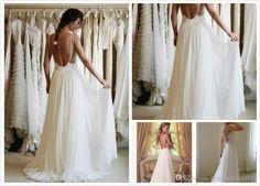 Wholesale - 2014 Boho Lace Appliques Beach Wedding Dresses Spaghetti Straps Backless A-Line Chapel Train White Chiffon 2015 Bridal Gowns from Tiantianlove0911,$229.45 | DHgate.com