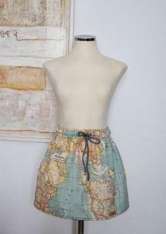 World map skirt map printed high waisted skirt in blue green falda a medida bon voyage tela mapamundi por pupettas en etsy gumiabroncs Choice Image