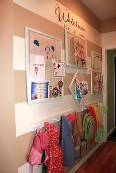 Achieving Creative Order: Hallway Stripes - great mudroom set up with art display - do this in the hallway