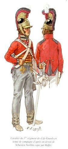 British Life Guards cavalry All of the British cavalry was dressed spendidly after copying Napoleon's cavalry style closely.