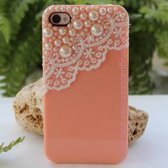 pearl with romantic white lace trim Pink iPhone 4 Case Hard Case for Apple iPhone 4 Case, iPhone 4s Case. $14.99, via Etsy.