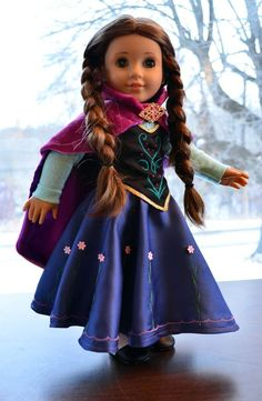 """Anna's Dress in Frozen Outfit Clothes for 18"""" American Girl"""