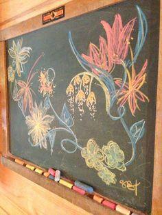 Chalk board flowers