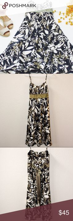 Evan Picone satin dress Evan Picone stain dress with floral print. Empire waist with sash. Adjustable spaghetti straps. Worn once, like new condition! Evan Picone Dresses Midi