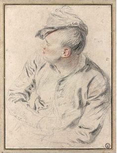 Jean-Antoine Watteau, Homme au bonnet de profil en buste, Georges Dormeuil Collection, black crayon and sanguine