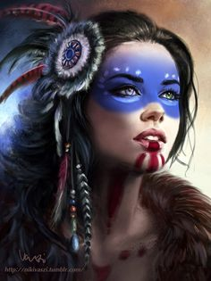 Northwind by NikiVaszi - ! SUper figur 6 by NikiVaszi American Indian Girl, Native American Girls, Native American Beauty, American Indians, American History, Native American Face Paint, Fantasy Women, Fantasy Girl, Tribal Makeup