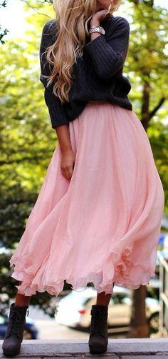 What a cute romantic pink chiffon maxi skirt