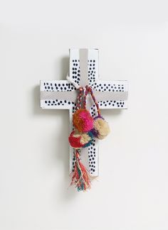 This pom pom-embellished cross is beautiful hanging from a wall or a bedroom door. Designed by Jai Vasicek, this Ahoy Trader cross is handmade in Australia. Cross Art, Crucifix, Interior Decorating, Diy Projects, Crafty, Decor Ideas, Gift Ideas, Wall Decorations, Pink
