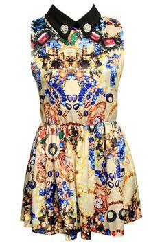 "ROMWE   ""Retro Floral"" Print Off-White Dress, The Latest Street Fashion"