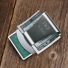 Personalized Engraved Stainless Steel Money Clip and Card Holder - SoCuteInc.com