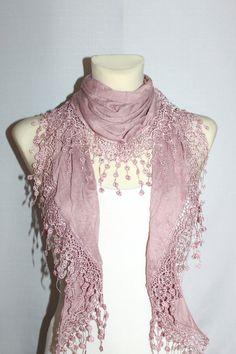 Pink Lace Scarf Skinny Scarf Fringe Scarf Lace by CRAZYSPIRIT