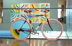 Art bike by Handsome Cycles at the Minneapolis Institute of Arts- Inspired by a Frank Stella painting